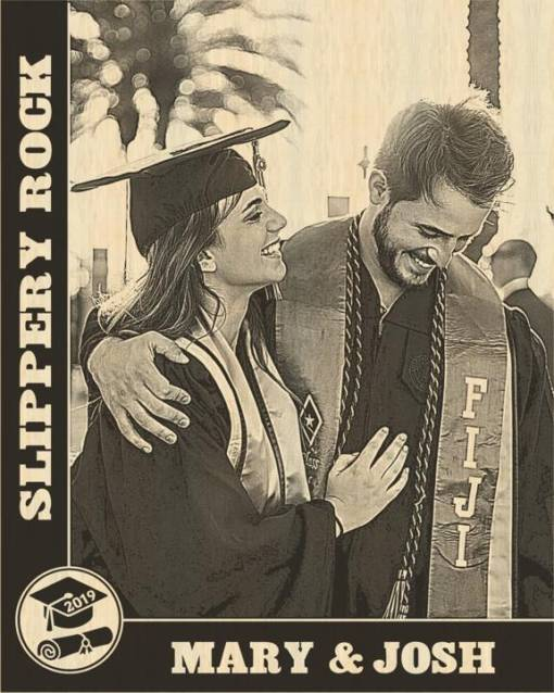 Graduation Cap & Diploma Design Laser Engraved Photo Plaque 1