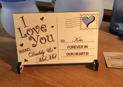 Valentines Day Wooden Postcard