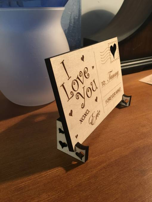 Wooden Postcard Love Design 2